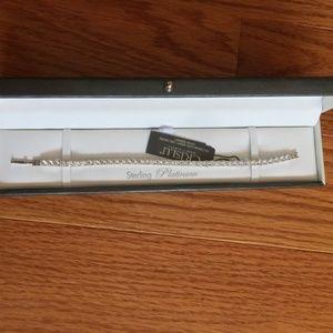 New Crislu Sterling Silver CZ Tennis Bracelet